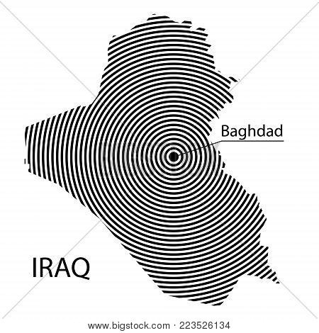 Map of Iraq. Abstract black and white striped map of the country with the design of the capital. Isolated on white background.