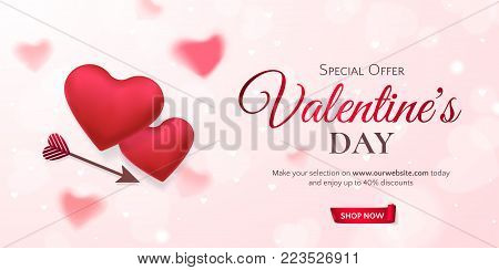 Vector horizontal template for sale banner for Valentine's Day with red hearts and an arrow. Holiday pink background for design of flyers with discount offers. With place for text.