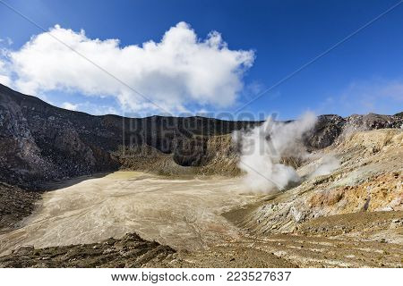 An active sulfur vent spits gasses inside the stratovolcano, Mount Egon in East Nusa Tenggara in Indonesia.