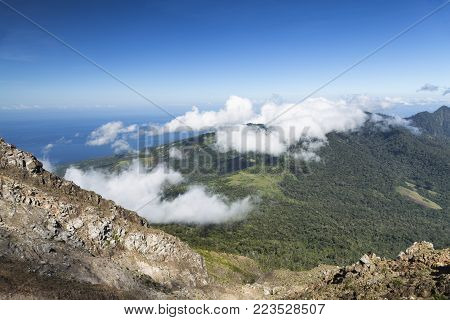 Looking down from the summit of Mount Egon on Flores Island in Indonesia.