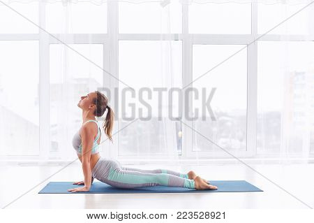 Beautiful young woman practices yoga asana Urdhva Mukha Svanasana - upward facing dog at the bright yoga class with large windows