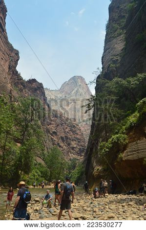 Grand Gorge With Views Of A Most High Mountain In Zion Park. Geology Travel Holidays June 25, 2017. Zion Park. Springdale. Utah. USA.EEUU.