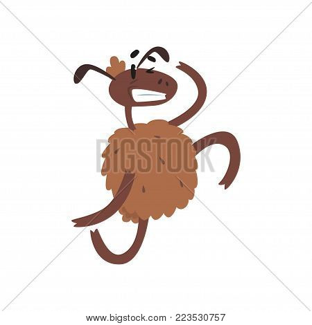 Funny happy sheep character jumping on two legs cartoon vector illustration on a white background