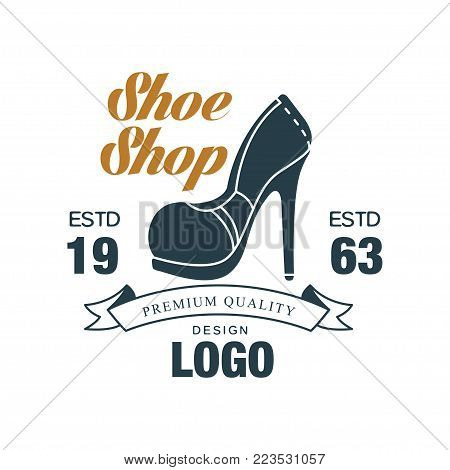 Shoe shop, premium quality design logo, estd 1963 vintage badge for shoemaker, shoe shop and shoes repair vector Illustration on a white background