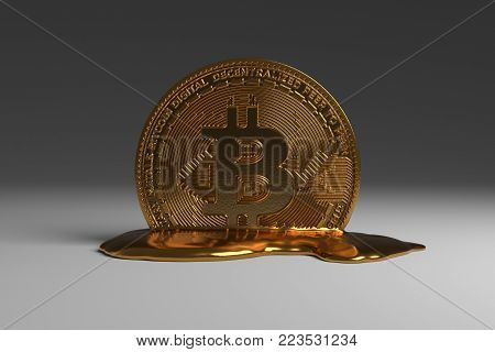 A 3D rendering of a physical bitcoin melting into a puddle of yellow coloured metal.