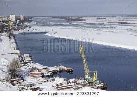 Harbour in Murmansk, quite harbour, frozy winter, noir