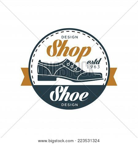 Shoe shop logo, estd 1963 vintage round badge for shoemaker, shoe shop and shoes repair vector Illustration on a white background