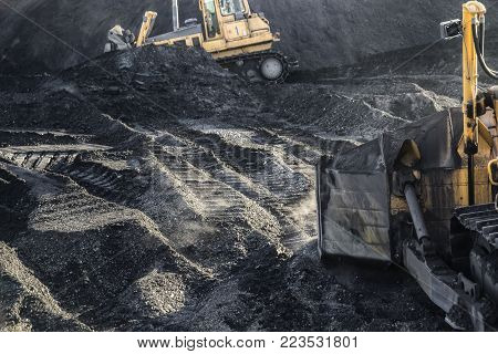 Excavators are working, dirty job, industrial, ecological problem
