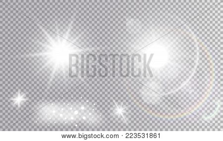 Set of various light effects. White sparkling fog, glares, big realistic star, hot sun with many bokeh and halo.