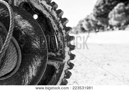 rusty gear with gears. texture of rusty iron.