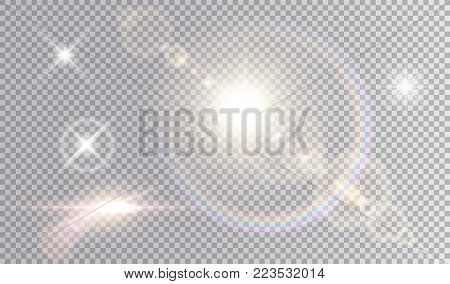 Set of shining light effects. Several white small stars, sun with lens flare and rainbow halo, cinematic spaceship glare.
