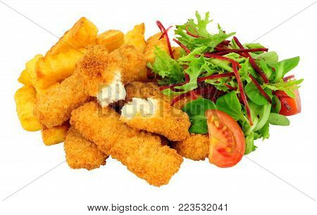 Breadcrumb coated chicken fingers and chips meal with salad isolated on a white background