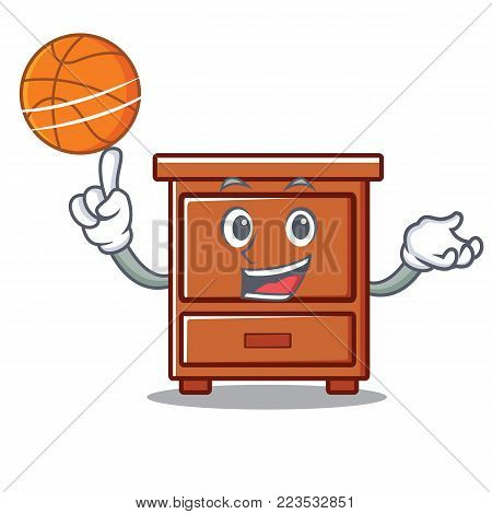 With basketball wooden drawer character cartoon vector illustration