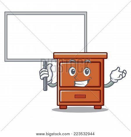 Bring board wooden drawer character cartoon vector illustration