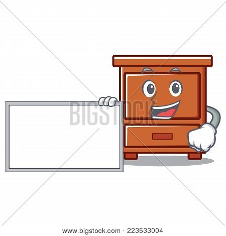 With board wooden drawer character cartoon vector illustration