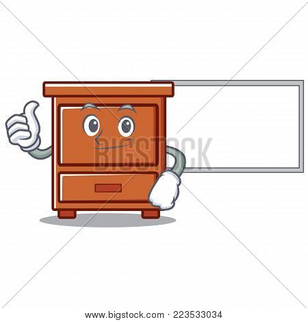 Thumbs up with board wooden drawer character cartoon vector illustration