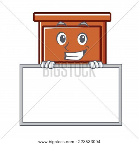 Grinning with board wooden drawer character cartoon vector illustration