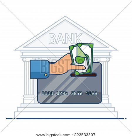 Replenishment of plastic card. Credit or debit card and paper money. Personal finance management concept. Flat vector design isolated on white.