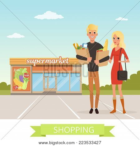 Happy young man and woman flat cartoon characters. People standing in front of the shop supermarket with paper bags and products. Couple shopping. Colorful store promo background. Vector illustration