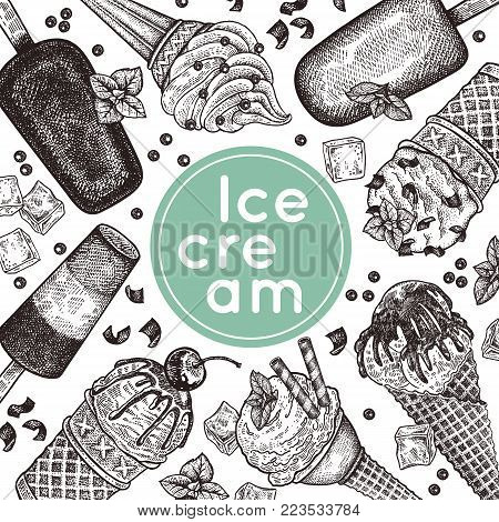 Poster With Ice Cream. Ice Cream In Waffle Cones With Chocolate Crumb, Berries, Cookies And Chocolat