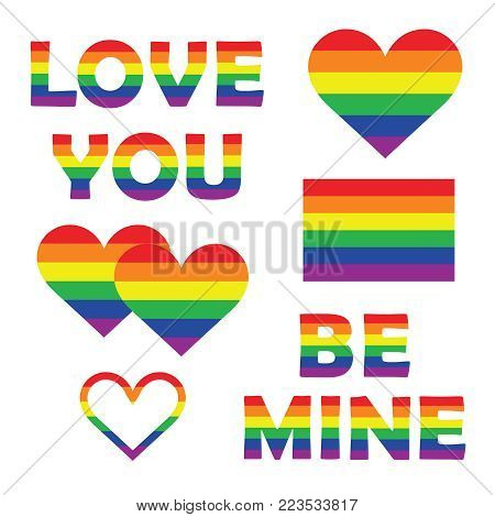 Set collection of gay pride elements with rainbow spectrum heart shapes, lettering, flag. Homosexuality emblems. LGBT rights concept. Vector illustartion.
