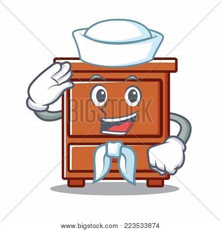 Sailor wooden drawer character cartoon vector illustration
