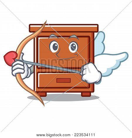 Cupid wooden drawer character cartoon vector illustration