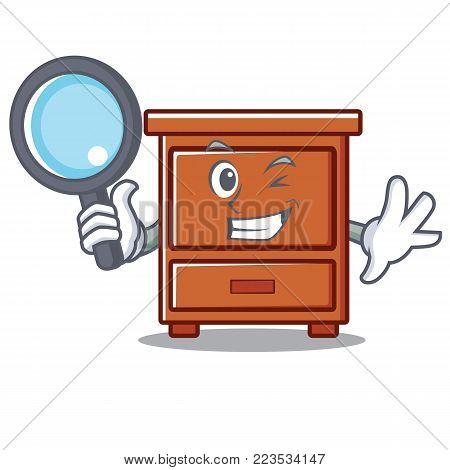 Detective wooden drawer character cartoon vector illustration