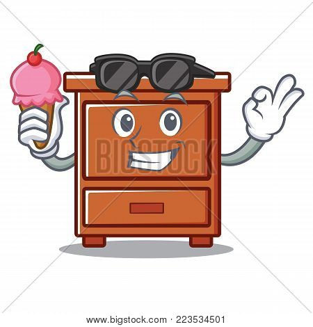 With ice cream wooden drawer character cartoon vector illustration