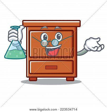 Professor wooden drawer character cartoon vector illustration
