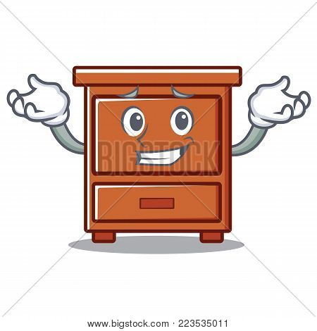 Grinning wooden drawer character cartoon vector illustration