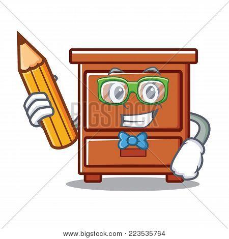 Student wooden drawer character cartoon vector illustration