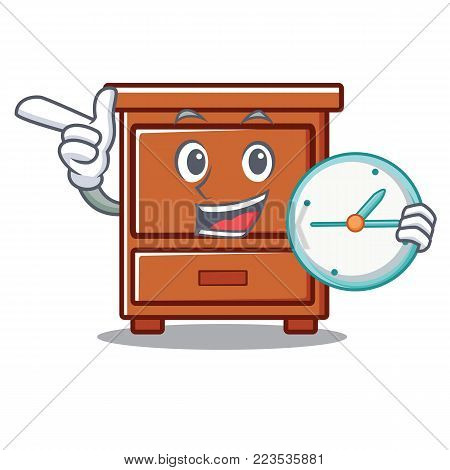 With clock wooden drawer character cartoon vector illustration