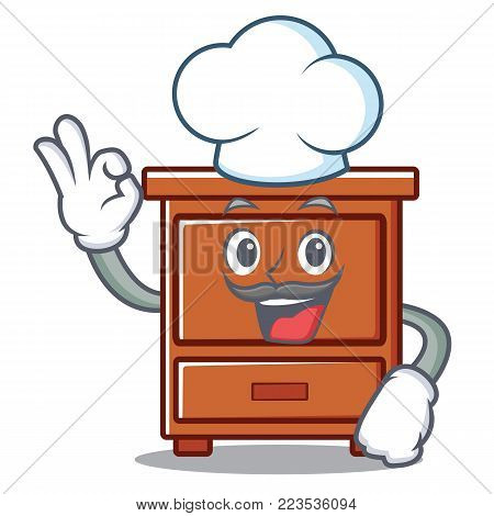 Chef wooden drawer character cartoon vector illustration