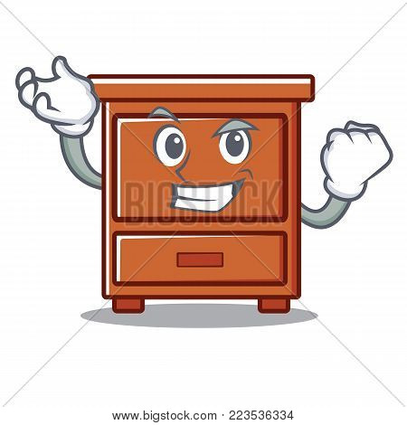 Successful wooden drawer character cartoon vector illustration