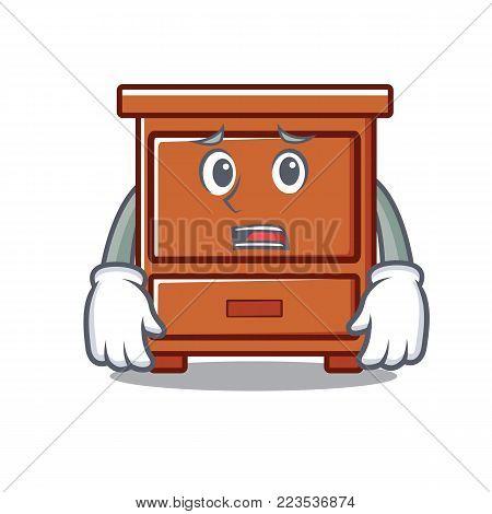 Afraid wooden drawer mascot cartoon vector illustration