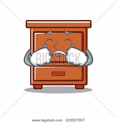 Crying wooden drawer mascot cartoon vector illustration