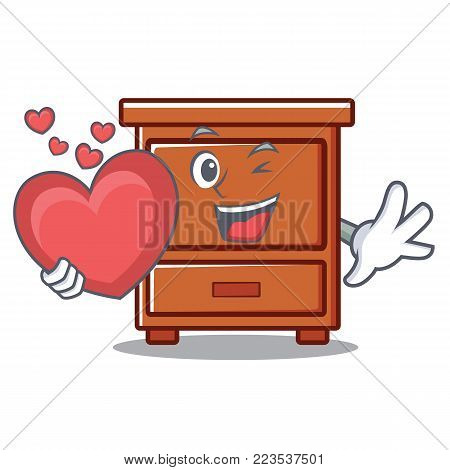 With heart wooden drawer mascot cartoon vector illustration