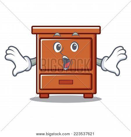 Surprised wooden drawer mascot cartoon vector illustration