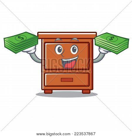 With money wooden drawer mascot cartoon vector illustration