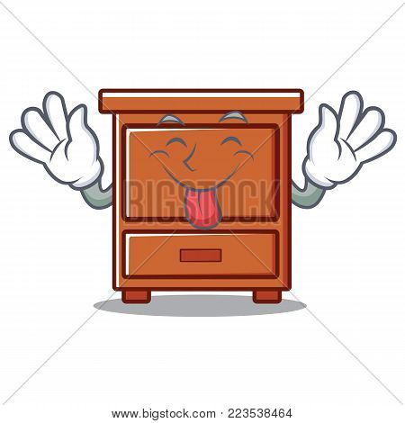 Tongue out wooden drawer mascot cartoon vector illustration