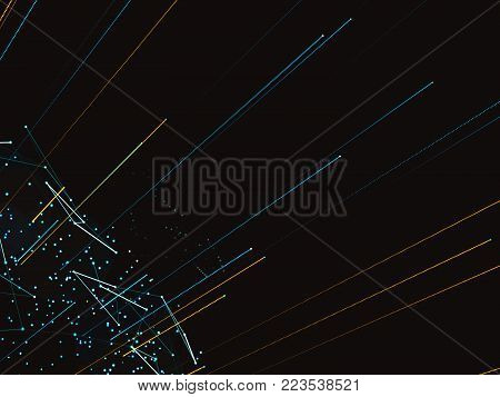 Computer, social, digital or other networks around the globe. Technological background. Digital representation of the world. Lines and points connected by a network. 3d illustration