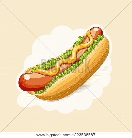 Hot dog. Fast food in engraving style. Eps10 vector illustration.