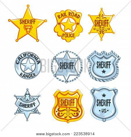 Collection of different sheriff, railroad police and rangers badges. Cop s golden and silver tokens. Cartoon emblems in flat style. Policeman symbol. Vector illustration isolated on white background.