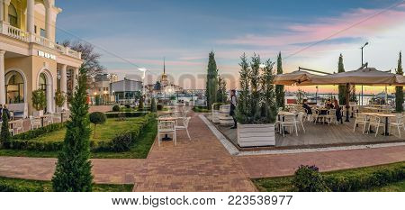 SOCHI, RUSSIA - JANUARY 7, 2018: Cafe at the berth of the seaport