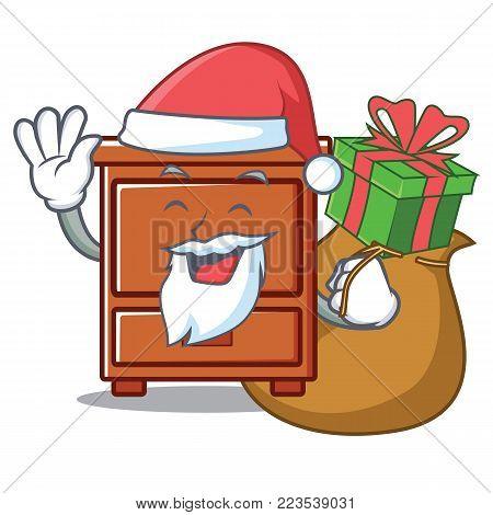 Santa with gift wooden drawer mascot cartoon vector illustration
