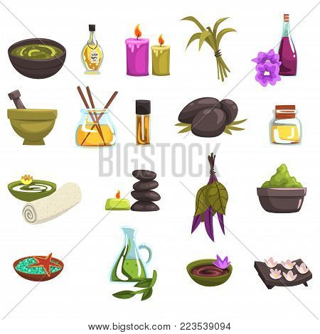 Spa salon and body care design elements set. Oil and herbs, candles, sea salt, warm stones, towel, flowers. Massage and aromatherapy, beauty procedures wellness icons. Vector collection on white.