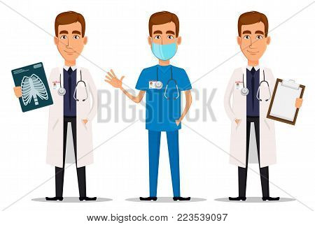 Young professional doctor, set with x-ray shot, with clipboard and waving hand. Medical worker. Hospital staff. Cartoon character on white background. Vector illustration.