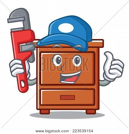 Plumber wooden drawer mascot cartoon vector illustration