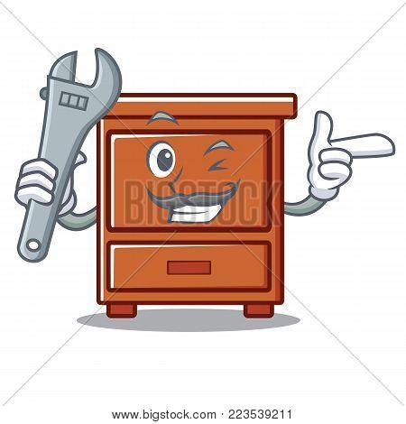 Mechanic wooden drawer mascot cartoon vector illustration